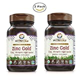 NUTRIG0LD Nutrigold Zinc Gold for Reproductive, Gastrointestinal and Immune Health - Vegan and Kosher Formulation (60 Organic Capsules) Pack of 2