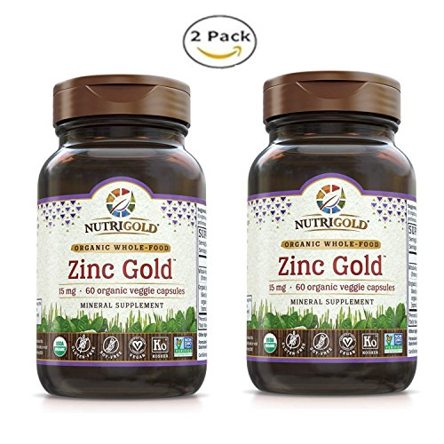 NUTRIG0LD Nutrigold Zinc Gold for Reproductive, Gastrointestinal and Immune Health - Vegan and Kosher Formulation (60 Organic Capsules) Pack of 2 by NUTRIG0LD