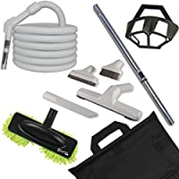 Deluxe Hard Floor Central Vacuum Cleaning Set with 35-foot Pistol Grip Style Handle Hose