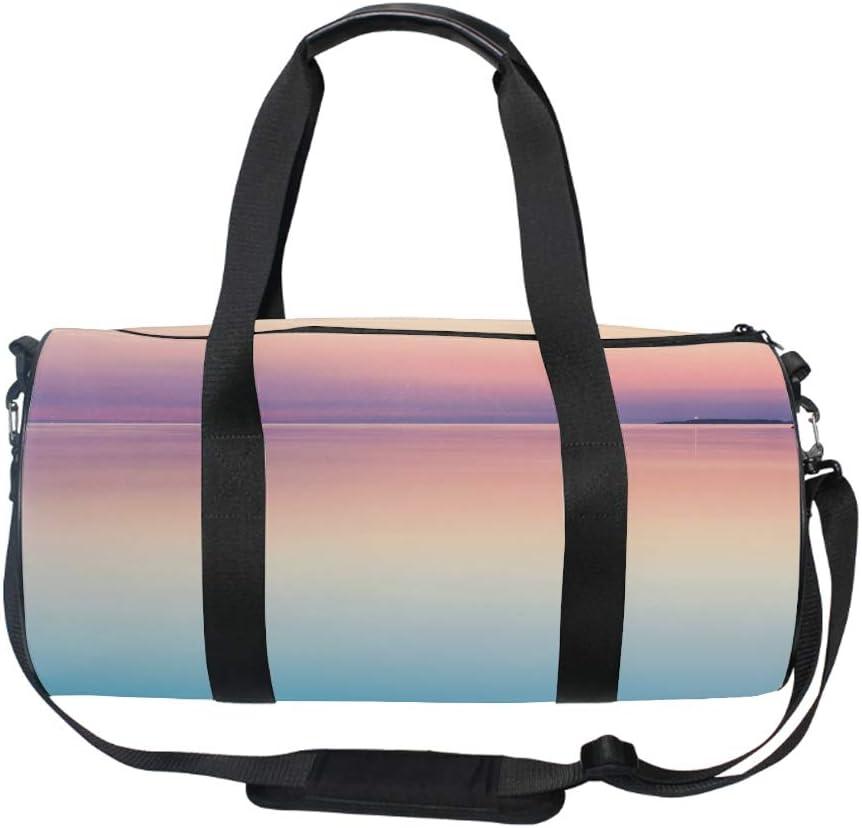 Round Pastel Pink Gym Duffle Bag Drum tote Fitness Shoulder Handbag Messenger Bags