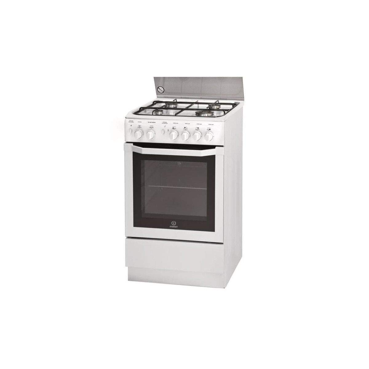 Indesit I5GGC1G(W) FR Autonome Blanc four et cuisinière - Fours et cuisinières (Cuisinière, Blanc, Rotatif, Gaz, 61 L, Catalyse)