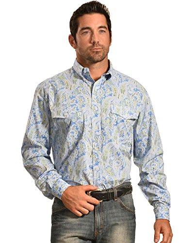 Roper Men's Amarillo Collection Blue Paisley Shirt Blue XX-Large
