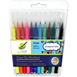 Living In Color Fine Point Markers 12 pieces, 0.2mm, an essential tool for adult coloring, vibrant color assortment