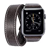 Apple Watch Band, iBazal 38mm [Dual Loop] Leather Band Genuine Leather Replacement Band for Apple Watch Series 3 & Series 2 & Series 1 - Coffee 38mm
