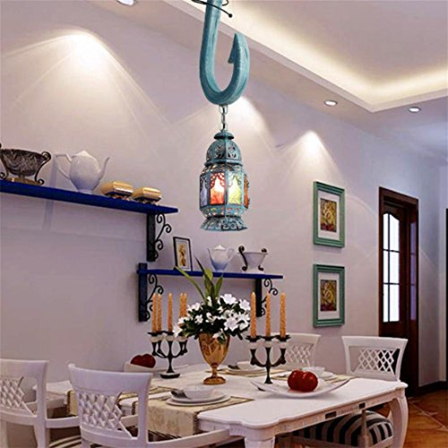 GLX Retro fishhook chandeliers, solid wood bohemian single head chandeliers 28CM 114CM