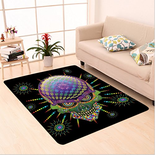 Nalahome Custom carpet chedelic Digital Mexican Sugar Skull Festive Ceremony Halloween with Ornate Effects Design Multi area rugs for Living Dining Room Bedroom Hallway Office Carpet (5' X 8') (Charlie Brown Abc Halloween)