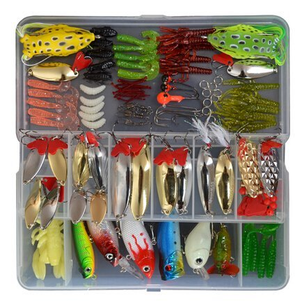 (1 Set (129 Pcs) Fishing Lure Tackle Kit Bionic Bass Trout Salmon Pike Fishing Lure Frog Minnow Soft Shrimp Grubs Jigging Lures Artificial Hard Spoon Spinner Sequins Lure)