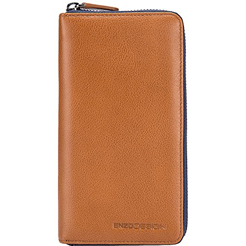 Wallet EnzoDesign EnzoDesign Tan Leather Zip Around Leather qrXwrRx7