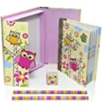 Owl Gift Idea for Girls Cute Owl Boxed Children's Notebook & Stationery Gift Set