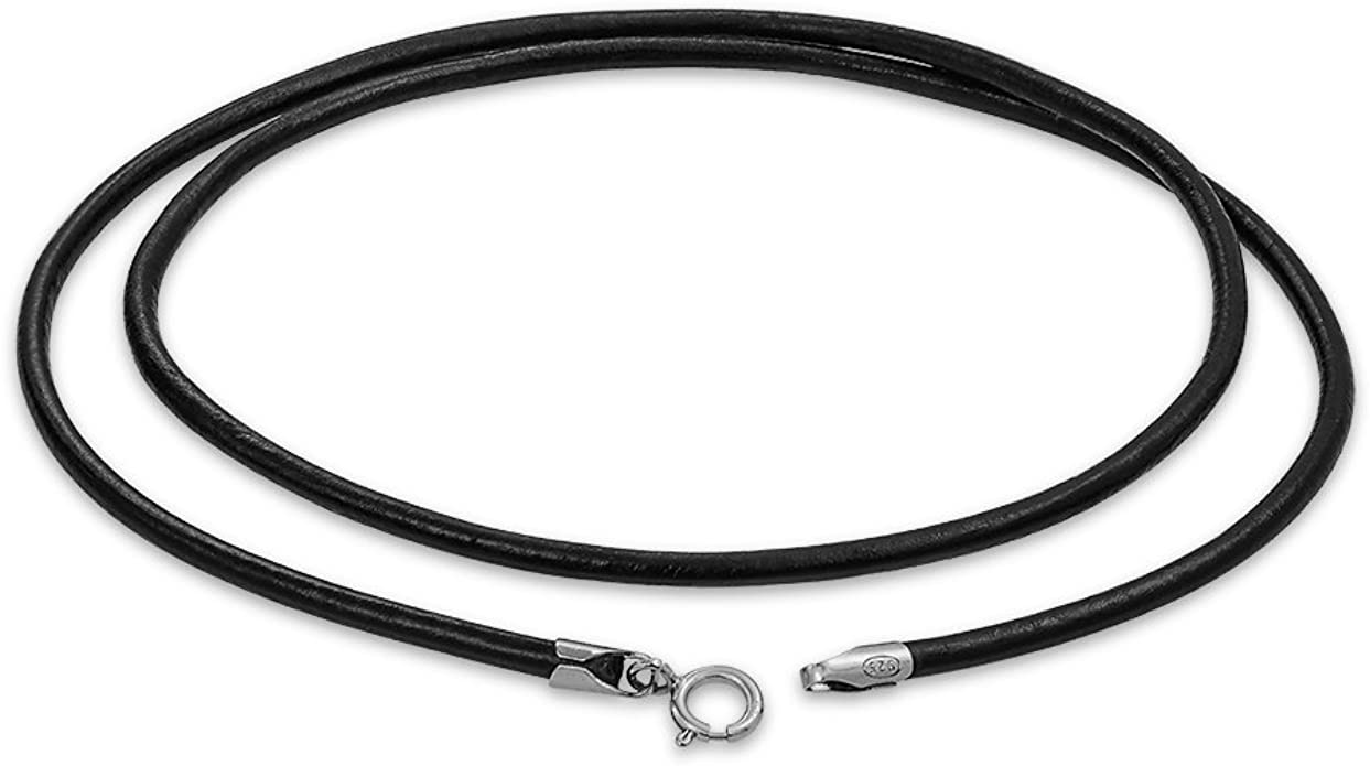 black cord necklace silver clasp