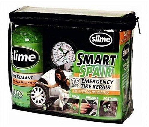 Slime –  Kit de reparació n de pinchazos Smart Spair, con bomba para dar aire, para neumá ticos, con compresor para neumáticos
