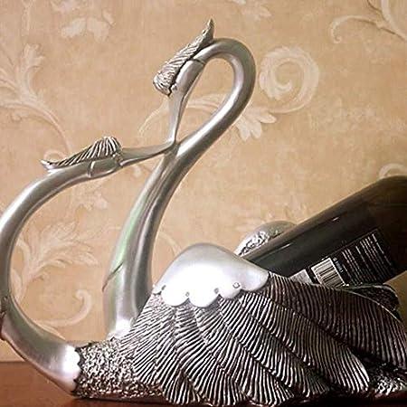 Estantería de vino Estante del vino de la vendimia botellero - Parejas cisne Resina estante de la botella de champán estante - barra de enfriador de vino en casa, antigüedades estante de vino pequeño