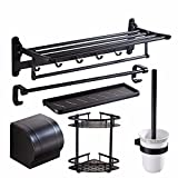 The black towel rack kit bath hardware bath towel rack bathroom wall in the space of aluminum frame,H