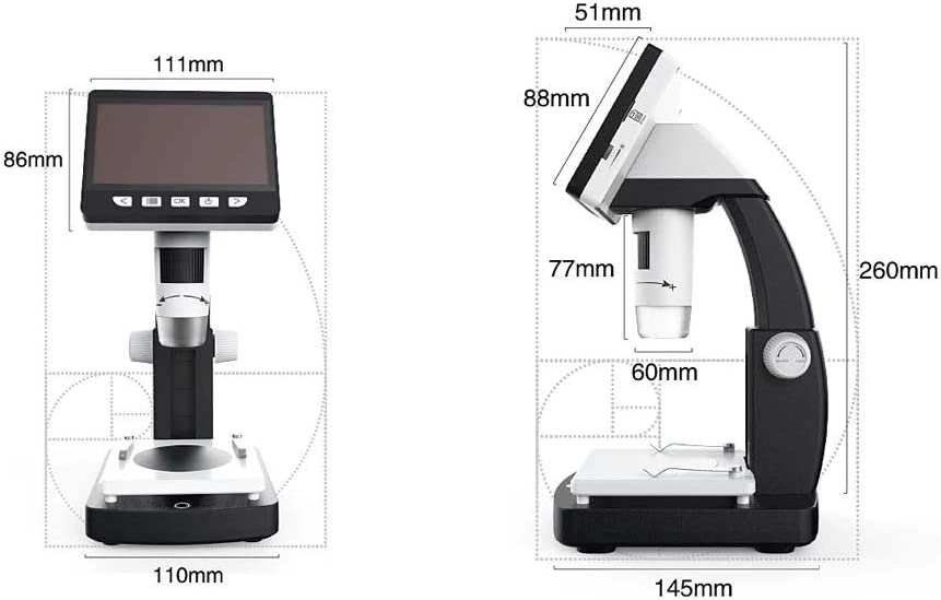 ROBDAE Microscope Portable Desktop LCD Digital Microscope with High Brightness 8 LEDs and HD Multimedia Explore The Microscopic World Color : White, Size : One Size