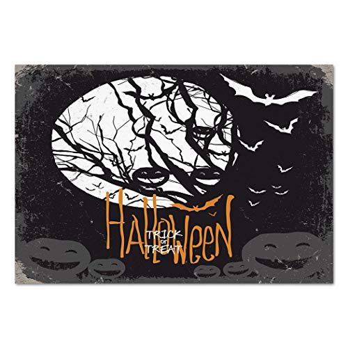 (Large Wall Mural Sticker [ Vintage Halloween,Halloween Themed Image with Full Moon and Jack o Lanterns on a Tree Decorative,Black White ] Self-adhesive Vinyl Wallpaper / Removable Modern Decorating)