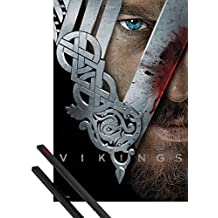 Poster + Hanger: Vikings Poster (36x24 inches) Warrior And 1 Set Of Black 1art1® Poster Hangers