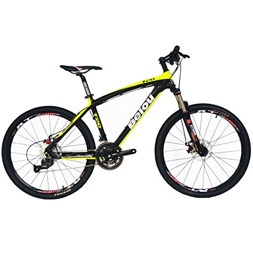 BEIOU Toray T700 Carbon Fiber Mountain Bike Complete Bicycle MTB 27 Speed 26-Inch Wheel SHIMANO 370 CB004 (Yellow, 15-Inch)