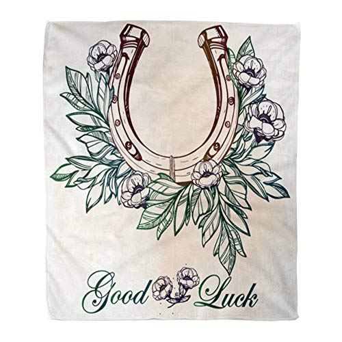 t Warm Cozy Print Flannel Lucky Horseshoe Good Luck Comfortable Soft for Bed Sofa and Couch 50x60 Inches ()