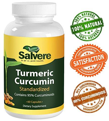 Curcuma curcumine Standardiser Contient 95% Curcuminoïdes - 500 mg - gélatine Veggie Capsules - 100% pur, sans additifs artificiels - détoxifier, stimuler le système immunitaire, brûler les graisses, anti-oxydant, anti-inflammatoire, améliorer les conditi
