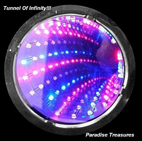 3D LED Strobe Flashing Infinity Tunnel Necklace Pendant for Party favors- 6 Modes RGB Light up Necklace(US (Flashing Tunnel)