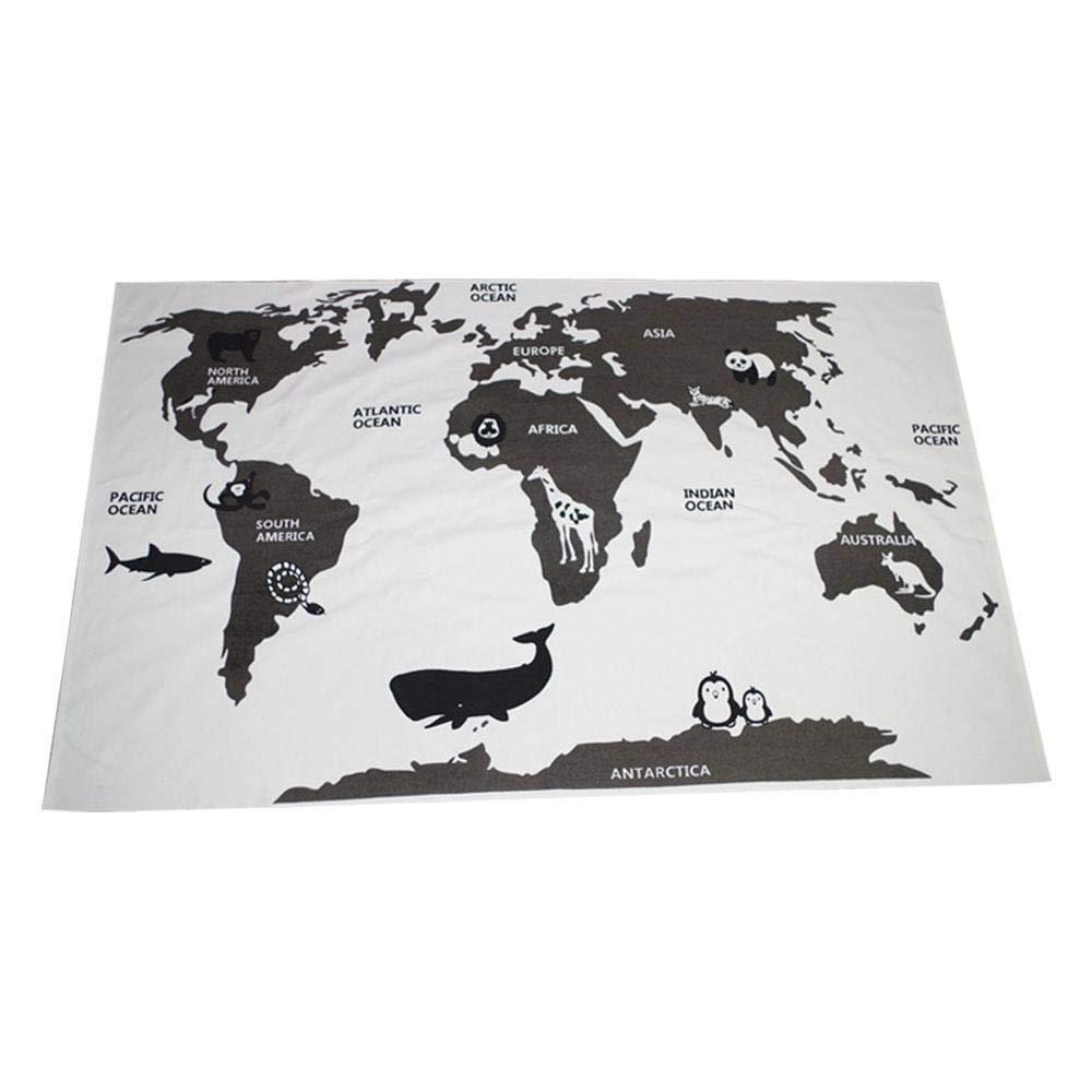 Pawaca - Alfombrilla para bebé, diseño de mapamundi Creativo, Material Muy Seguro, Mantas Antideslizantes no tóxicas, 89 x 139,7 cm