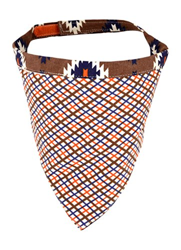 Territory Adventure Collection Reversible Pet Bandana, Large, Tan Plaid/Brown Print by Territory