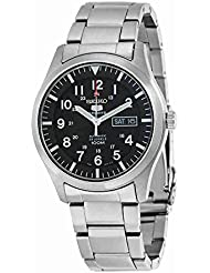 Seiko Mens SNZG13 Seiko 5 Automatic Black Dial Stainless-Steel Bracelet Watch