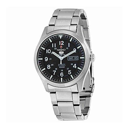 Seiko Men's SNZG13 Seiko 5 Automatic Black Dial Stainless-Steel Bracelet (Seiko Steel Bracelet)