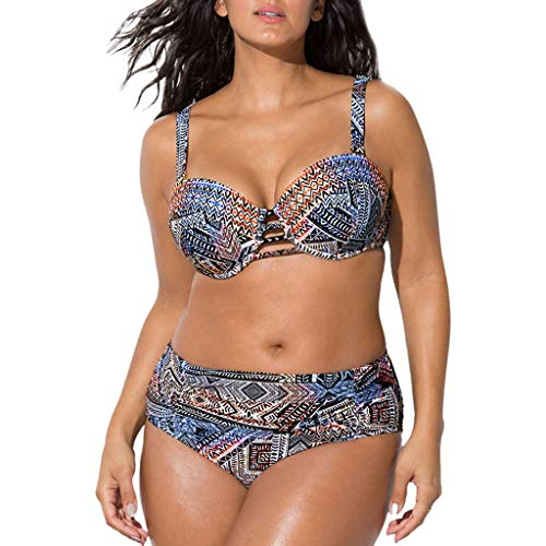 Startview Women Plus Size Bandage Printing Padded Bra Bikini Split Body Swimsuit Beachwear (B, XL)