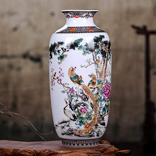 SeedWorld Vases - Jingdezhen Ceramic Vase Vintage Chinese Style Animal Vase Fine Smooth Surface Home Decoration Furnishing Articles 1 PCs