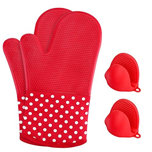 KEDSUM Heat Resistant Silicone Oven Mitts, 1 Pair of Extra Long Potholder Gloves with Bonus 1 Pair of Mini Cooking Pinch Grips, Non-Slip Cotton Lining Kitchen Glove for Baking, Barbeque, - Mitt Holder Pot Oven 1