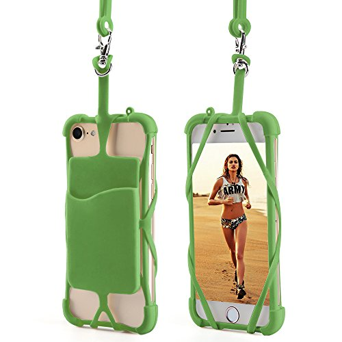 Price comparison product image 2 in 1 Lanyard Strap Case, AnsTOP Universal Silicone Holder Sling Lanyard Necklace Case With Detachable Wallet ID Card Slot for iPhone X, 8 8 Plus, 7 7Plus 6S 6 Plus Samsung Galaxy S8 S8 Plus (Green)