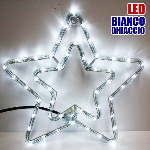 Doppia Stella Natalizia Luminosa 50 LED colore Bianco Ghiaccio per uso Esterno Bakaji Lighting