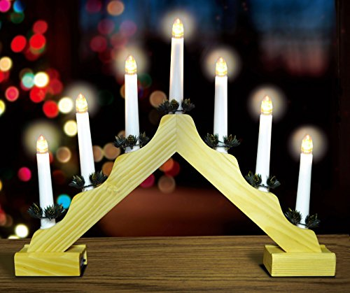 Christmas Wooden Candle Bridge With Warm White LED Lights - Battery Operated