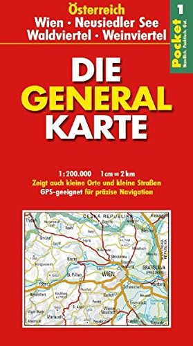 Die Generalkarte Pocket Österreich 1, Wien, Neusiedler See, Waldviertel, Weinviertel 1:200 000