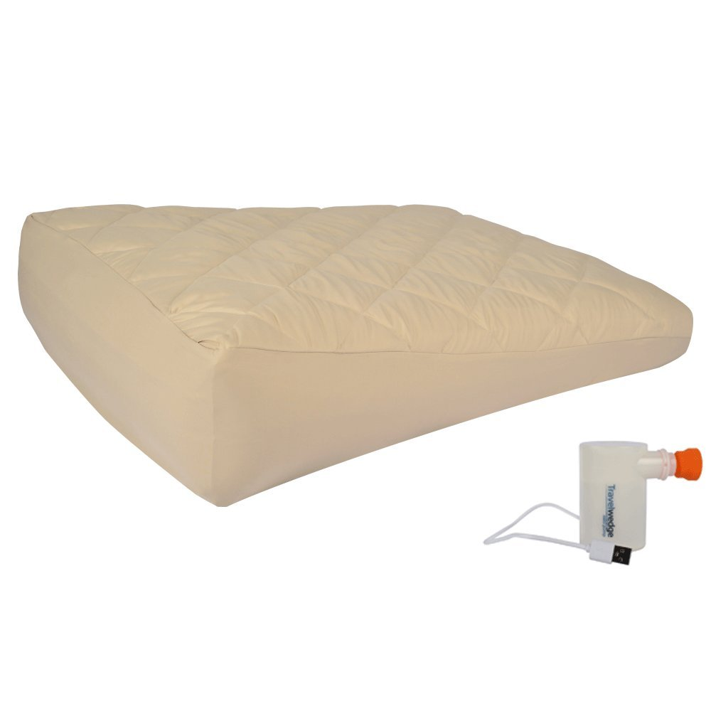 Small-Size Inflatable Bed Wedge, w/Mini USB Electric Pump, Acid Reflux Wedge, w/Soft Peach Skin Custom Fitted Cover 32''L,30''W,8''H Weighs 2.2 Pounds.