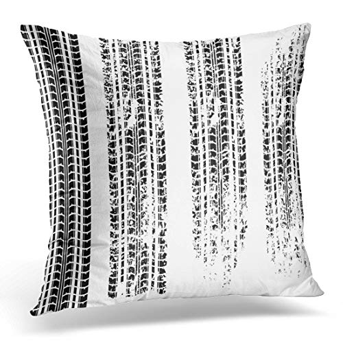 Emvency Throw Pillow Cover Car Black Wheel of Four Tire Tracks White Motorcycle Decorative Pillow Case Home Decor Square 18