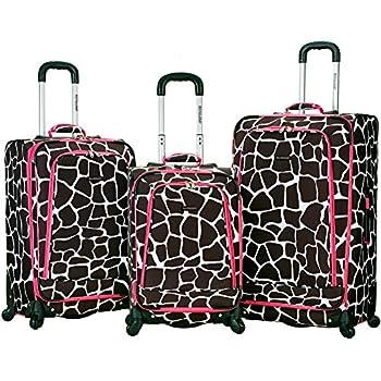 Image of Rockland Luggage Fusion 3 Piece Luggage Set, Pink Giraffe, Medium Luggage
