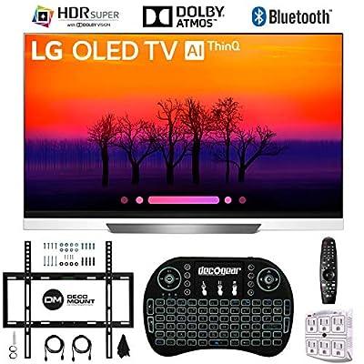 LG OLED65E8PUA 65 E8 OLED 4K Ultra HD AI TV with Wireless Keyboard + Wall Bracket Bundle