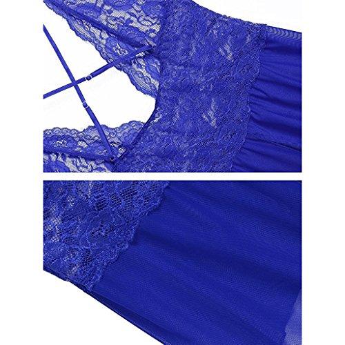 biancheria le di vestaglia Scollo Bikini ouvert della a bamboletta trasparente per V Sexy lingerie Halter lingerie pizzo Blu donne w1qvawX