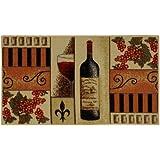 "French Wine Glass Non-Slip (Non-Skid) Kitchen Mat Rubber Back Rug 18"" x 31"" CUC5519"