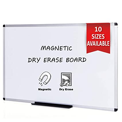 VIZ-PRO Pizarra blanca magnética con marco de aluminio, 120 x 60 cm