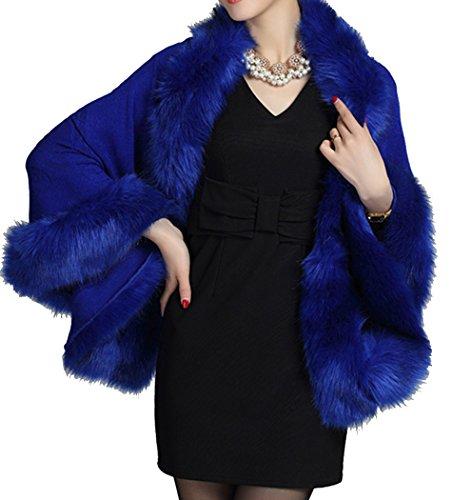 manteau Helan faux Bleu cape Fox floral fourrure chale femmes avec YSw7qZ