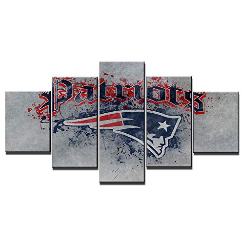 Chicicio New England Patriots Wall Decor Abstract Art Paintings 5 Piece Canvas Picture Artwork Living Room NFL Prints Poster Football Decoration Wooden Framed Ready to Hang(60''Wx32''H)