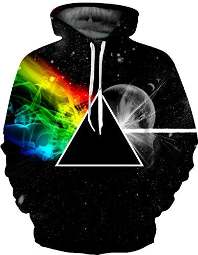 Unisex Realistic 3d Print Galaxy Pullover Hoodie Hooded Sweatshirt (Large/X-Large, Black Triangle)
