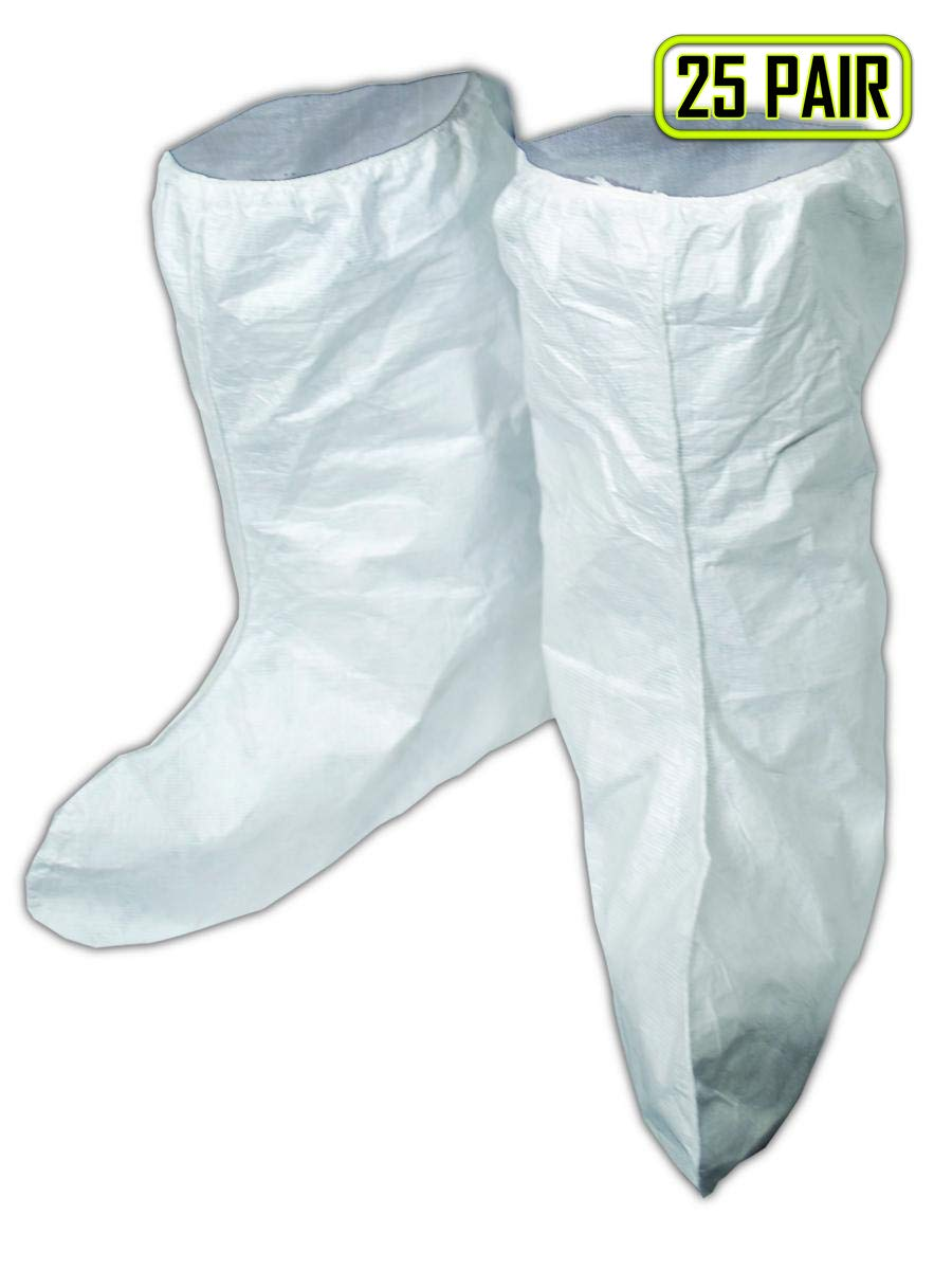 Magid SC167 EconoWear Disposable Tyvek High Knee Boot Cover, White (25 Pairs)