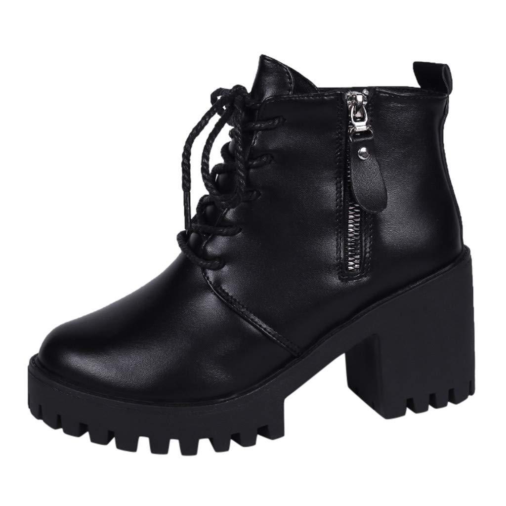 FRENDLY Women Short Combat Boots Ladies Wedge Solid Zipper Biker Ankle Fashion Flat Ankle Boots Shoes Black