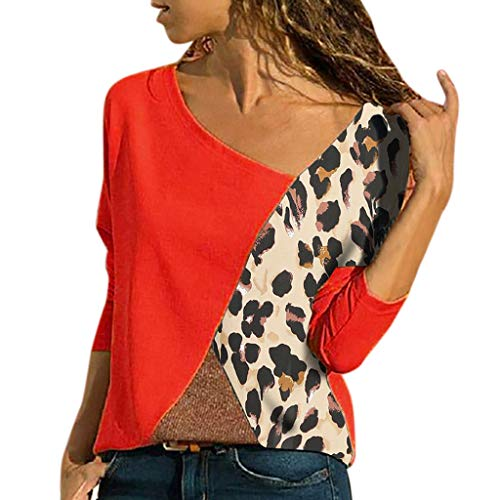 Women Long Sleeve Splicing Color Leopard Print Casual Shirt Easy Blouse -