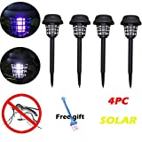 XGao Solar Powered Bug Zapper 4pcs Powerful Mosquito Trap Standing-Free LED Light Mosquito