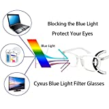 Cyxus Blue Light Filter Computer Glasses for Blocking UV Headache [Anti Eye Eyestrain] Transparent Lens, Unisex (Men/Women) (crystal)